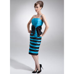 Sheath/Column Knee-Length Mother of the Bride Dresses With Ruffle Bow(s) (008006280)