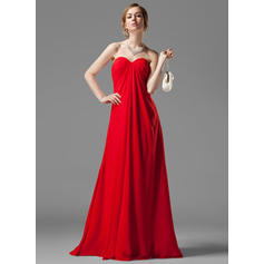 Empire Sweetheart Floor-Length Bridesmaid Dresses With Ruffle Beading