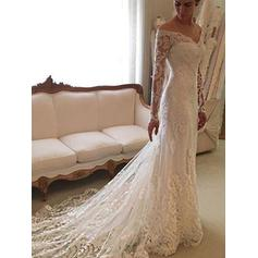 Sexy Off-The-Shoulder Sheath/Column Wedding Dresses Court Train Lace Long Sleeves