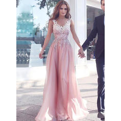 A-Line/Princess V-neck Sweep Train Evening Dresses With Lace Beading