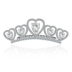 "Tiaras Wedding/Special Occasion/Outdoor/Party Copper/Zircon/Platinum Plated 1.18""(Approx.3cm) 3.15""(Approx.8cm) Headpieces"