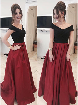 A-Line/Princess Off-the-Shoulder Floor-Length Satin Evening Dresses With Ruffle