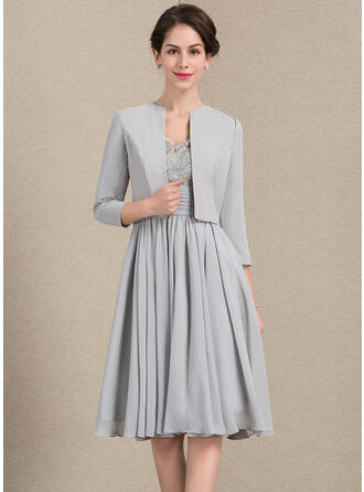 A-Line V-neck Knee-Length Chiffon Lace Mother of the Bride Dress With Ruffle Sequins