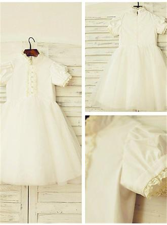 A-Line/Princess High Neck Tea-length With Lace Satin/Tulle Flower Girl Dresses