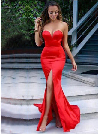 Trumpet/Mermaid Sweetheart Sweep Train Prom Dresses With Split Front