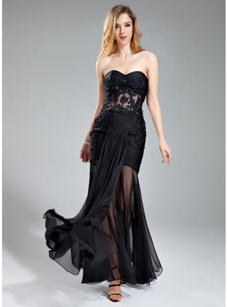 Trumpet/Mermaid Sweetheart Floor-Length Evening Dresses With Ruffle Beading Appliques Lace