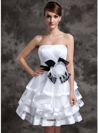 A-Line/Princess Strapless Knee-Length Organza Cocktail Dresses With Sash Feather Flower(s) Bow(s) Cascading Ruffles