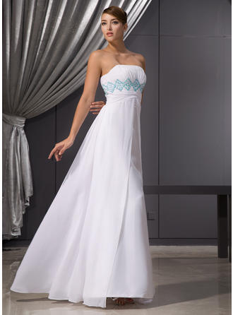 Empire Strapless Floor-Length Evening Dresses With Ruffle Beading Sequins