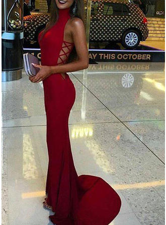 Trumpet/Mermaid High Neck Sweep Train Prom Dresses