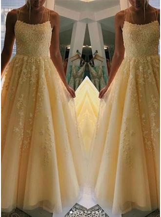 A-Line/Princess Square Neckline Floor-Length Prom Dresses With Appliques