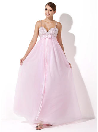 Empire Sweetheart Floor-Length Evening Dresses With Beading Sequins Bow(s)