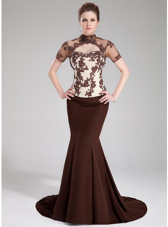 Trumpet/Mermaid High Neck Sweep Train Prom Dresses With Beading Appliques Lace Sequins