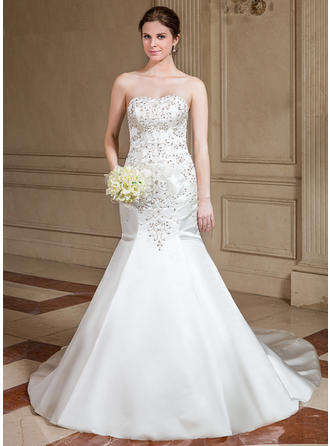 Trumpet/Mermaid Sweetheart Cathedral Train Wedding Dresses With Beading Sequins