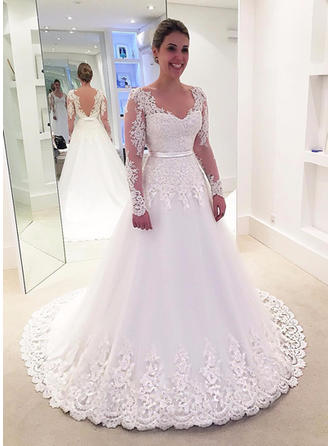 2018 New V-neck A-Line/Princess Wedding Dresses Sweep Train Tulle Long Sleeves
