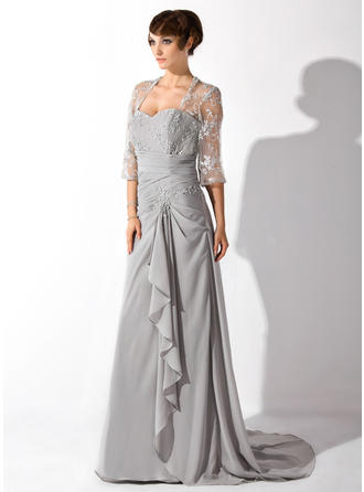 A-Line/Princess Sweetheart Court Train Mother of the Bride Dresses With Beading Cascading Ruffles
