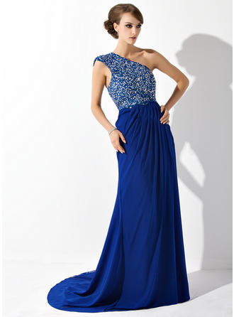 A-Line/Princess Chiffon Sleeveless One-Shoulder Court Train Zipper Up at Side Mother of the Bride Dresses