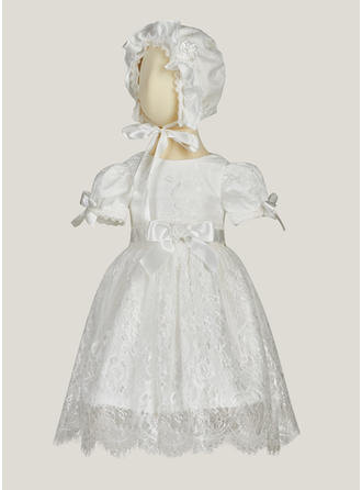 A-Line/Princess Scoop Neck Ankle-length Satin Tulle Christening Gowns With Bow(s)