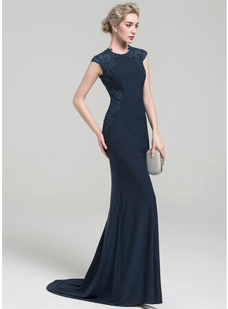 Trumpet/Mermaid Scoop Neck Sweep Train Jersey Evening Dress With Lace Beading Sequins