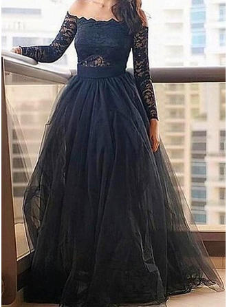 A-Line/Princess Tulle Prom Dresses Lace Off-the-Shoulder Long Sleeves Floor-Length
