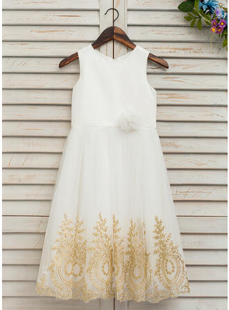 A-Line/Princess Tea-length Flower Girl Dress - Satin/Tulle/Lace Sleeveless Scoop Neck With Bow(s)
