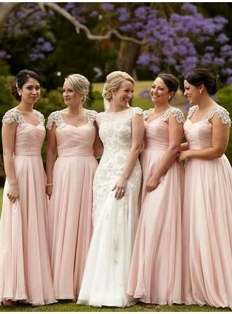 A-Line/Princess Sweetheart Floor-Length Bridesmaid Dresses With Beading Appliques Lace Sequins