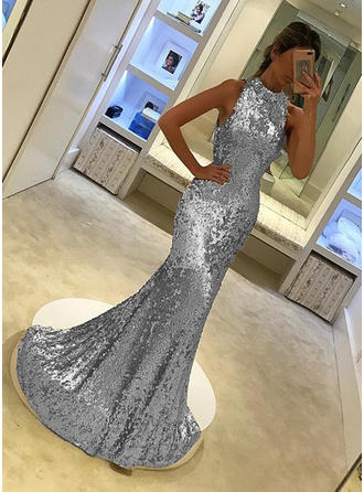 Trumpet/Mermaid Sweep Train Evening Dresses High Neck Sequined Sleeveless
