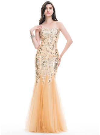 Trumpet/Mermaid Sweetheart Floor-Length Tulle Prom Dresses With Beading Sequins