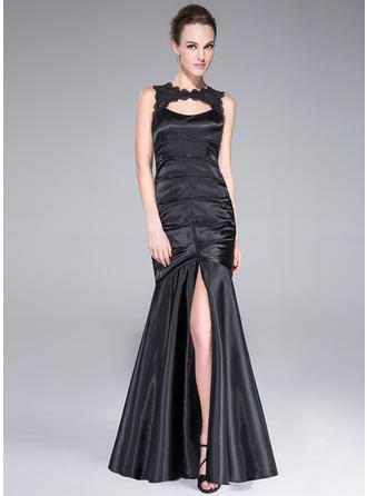 Trumpet/Mermaid Scoop Neck Floor-Length Evening Dresses With Lace Split Front