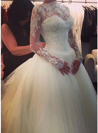 Ball-Gown Tulle Long Sleeves High Neck Cathedral Train Wedding Dresses