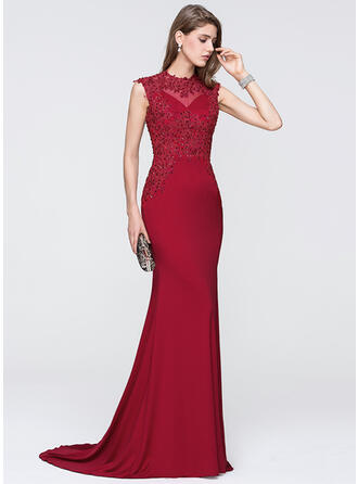 Trumpet/Mermaid Scoop Neck Sweep Train Jersey Prom Dresses With Beading Sequins