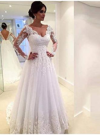 A-Line/Princess Tulle Long Sleeves V-neck Chapel Train Wedding Dresses