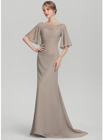 Trumpet/Mermaid Off-the-Shoulder Sweep Train Chiffon Evening Dress With Ruffle Lace