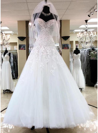 Ball-Gown Sweetheart Floor-Length Wedding Dresses With Beading Appliques Lace Sequins