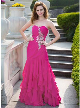 Trumpet/Mermaid Sweetheart Floor-Length Prom Dresses With Beading Cascading Ruffles