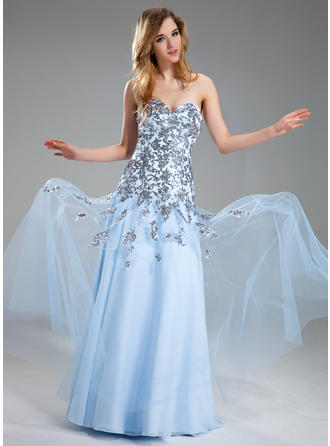 A-Line/Princess Sweetheart Floor-Length Prom Dresses With Appliques Lace Sequins