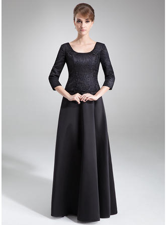 A-Line/Princess Satin Lace 3/4 Sleeves Scoop Neck Floor-Length Zipper Up Mother of the Bride Dresses