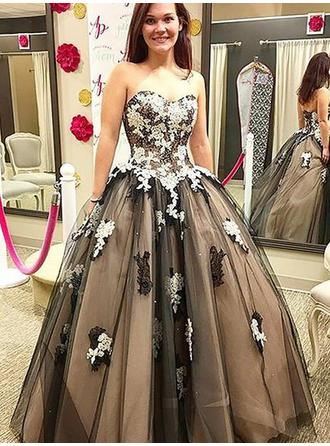 Ball-Gown Sweetheart Floor-Length Prom Dresses With Appliques Lace