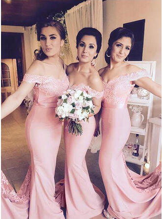 Trumpet/Mermaid Off-the-Shoulder Floor-Length Bridesmaid Dresses With Lace