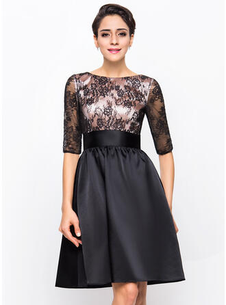 A-Line Scoop Neck Knee-Length Charmeuse Lace Cocktail Dress