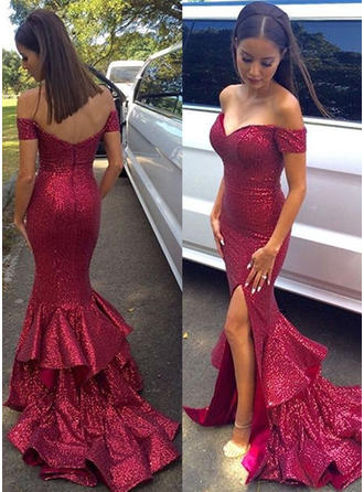 Trumpet/Mermaid Sequined Prom Dresses Off-the-Shoulder Sleeveless Sweep Train