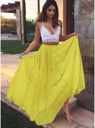 A-Line/Princess Chiffon Prom Dresses Lace V-neck Sleeveless Floor-Length