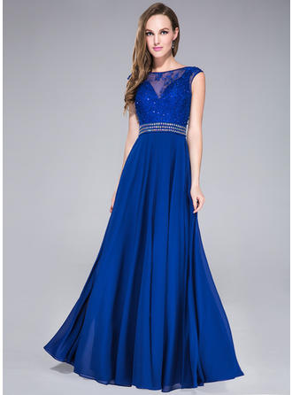 A-Line/Princess Scoop Neck Floor-Length Prom Dresses With Beading Sequins