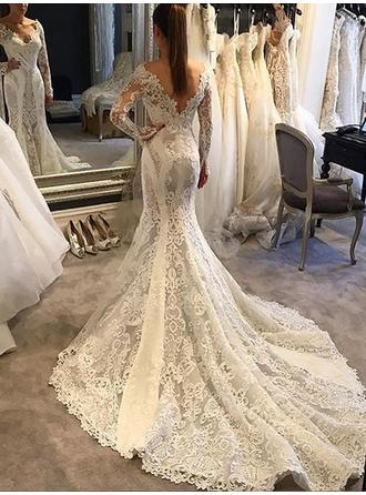 V-neck Trumpet/Mermaid Wedding Dresses Lace Appliques Lace Long Sleeves Chapel Train