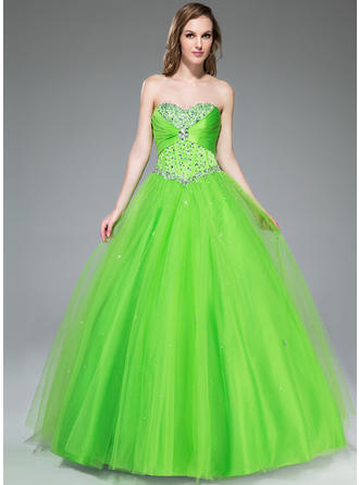 Ball-Gown Sweetheart Floor-Length Prom Dresses With Ruffle Beading Sequins