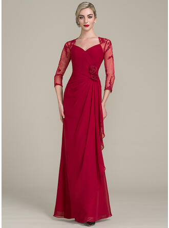 A-Line/Princess Sweetheart Floor-Length Chiffon Lace Evening Dress With Beading Flower(s) Sequins Cascading Ruffles