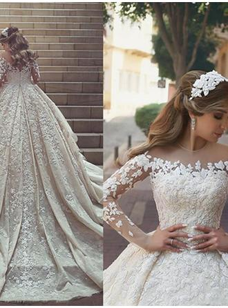 Scoop Ball-Gown Wedding Dresses Satin Lace Long Sleeves Chapel Train