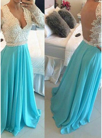 A-Line/Princess V-neck Floor-Length Prom Dresses With Beading