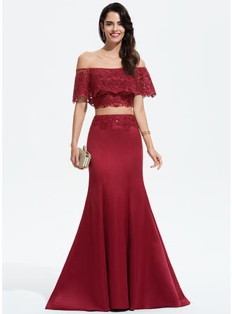 Trumpet/Mermaid Off-the-Shoulder Sweep Train Satin Prom Dresses With Lace Sequins