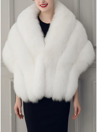 Wrap Fashion Faux Fur Half-Sleeve With Bow Wraps