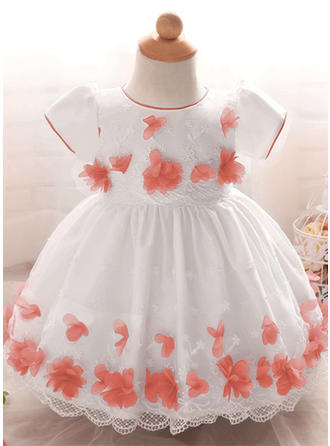 A-Line/Princess Scoop Neck Floor-length Satin Tulle Christening Gowns